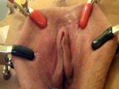 Chick playing with her clitoris